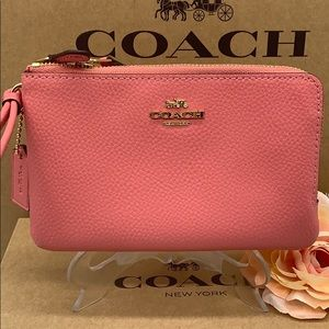 COACH Double Zip Wallet Imitat Gold/Bright coral